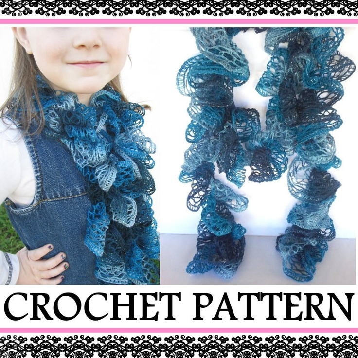 Crochet Pattern For Scarf Using Sashay Yarn : Ruffle Scarf PATTERN - INSTANT Download - How to Crochet a ...