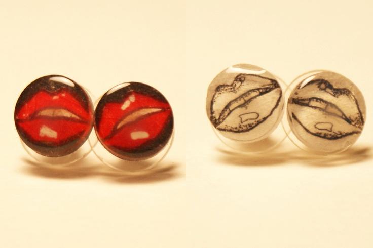 Small Lips Pair of Stud Earrings. $10.00, via Etsy.