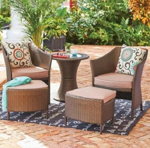 5pc Brown Resin Wicker Patio Furniture Set Chat Chairs Table Ottomans W  Cushions | EBay Part 86