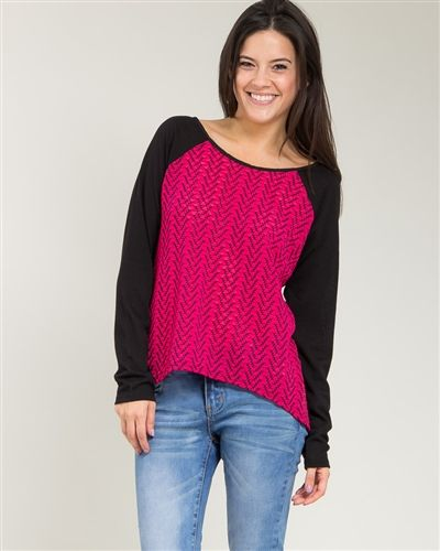Fuchsia and Black Long Sleeve Top