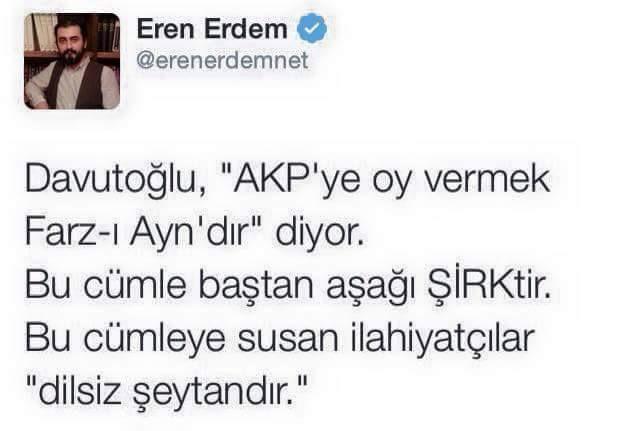Allah'ın tüm sıfatlarına şirk koşan tek parti AKP
