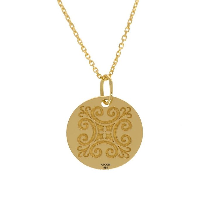 Lantisor din aur galben cu pandantiv banut motive traditionale Caraiman