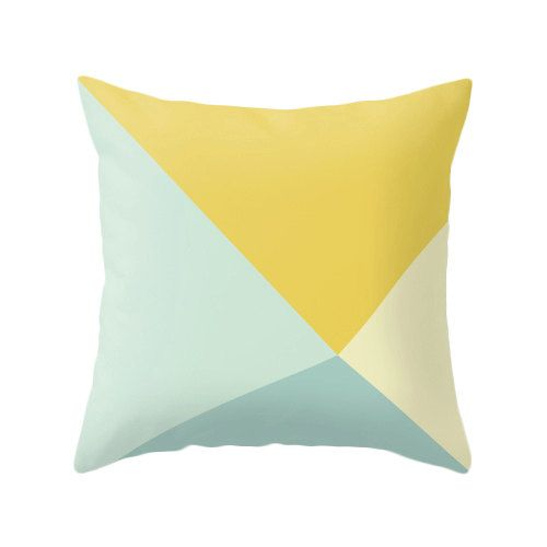 Teal and yellow cushion cover teal and yellow throw by LatteHome, $32.00