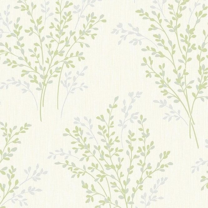 Fine Decor Summer Blossom Textured Glitter Wallpaper Green / Cream (FD40893)