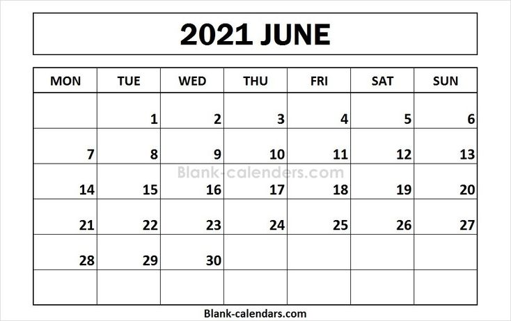 Printable June 2021 Calendar Monday Start | September ...