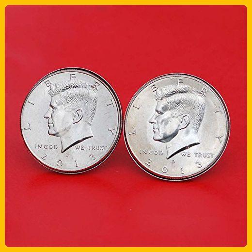 US 2013 Kennedy Half Dollar BU Uncirculated Coin Silver Cufflinks NEW - Groom cufflinks and tie clips (*Amazon Partner-Link)