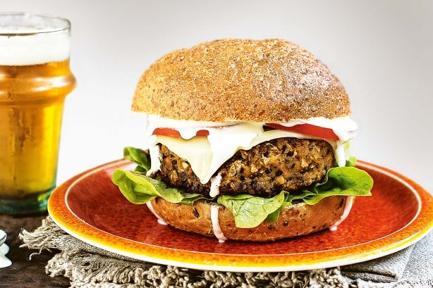 Swap traditional burgers for vegie patties spiced with wasabi yoghurt.
