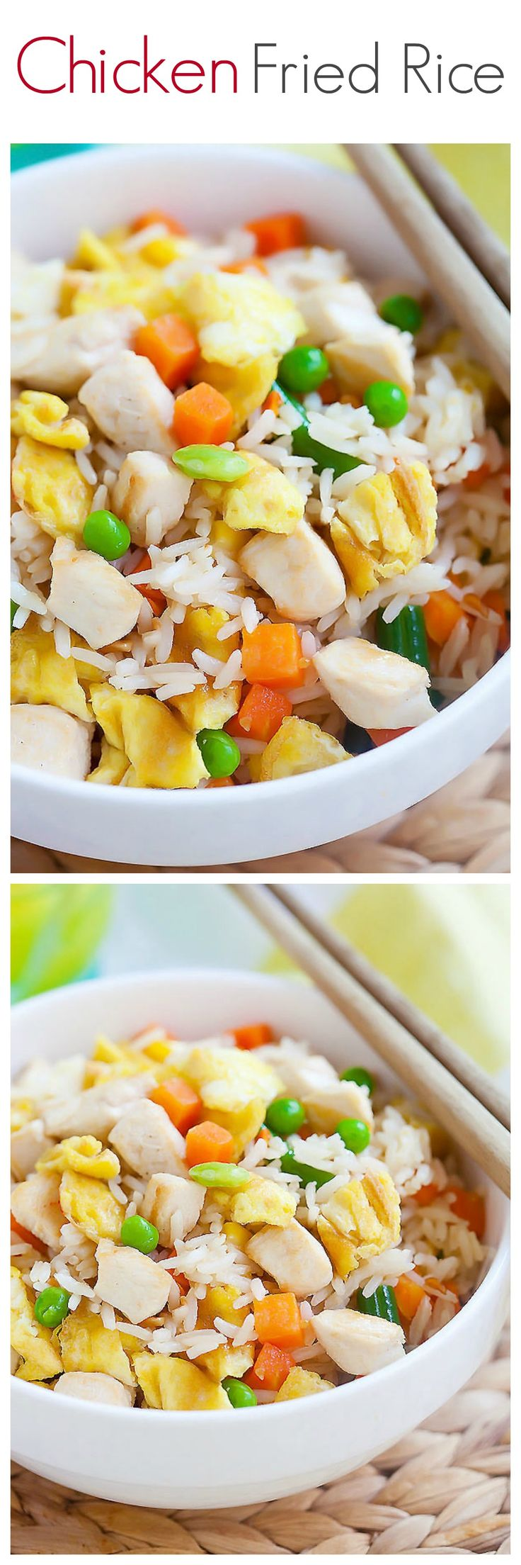 Chicken fried rice – a popular fried rice with chicken. Easy chicken fried rice recipe that is healthier & better than regular takeout and takes 20 mins   rasamalaysia.comm
