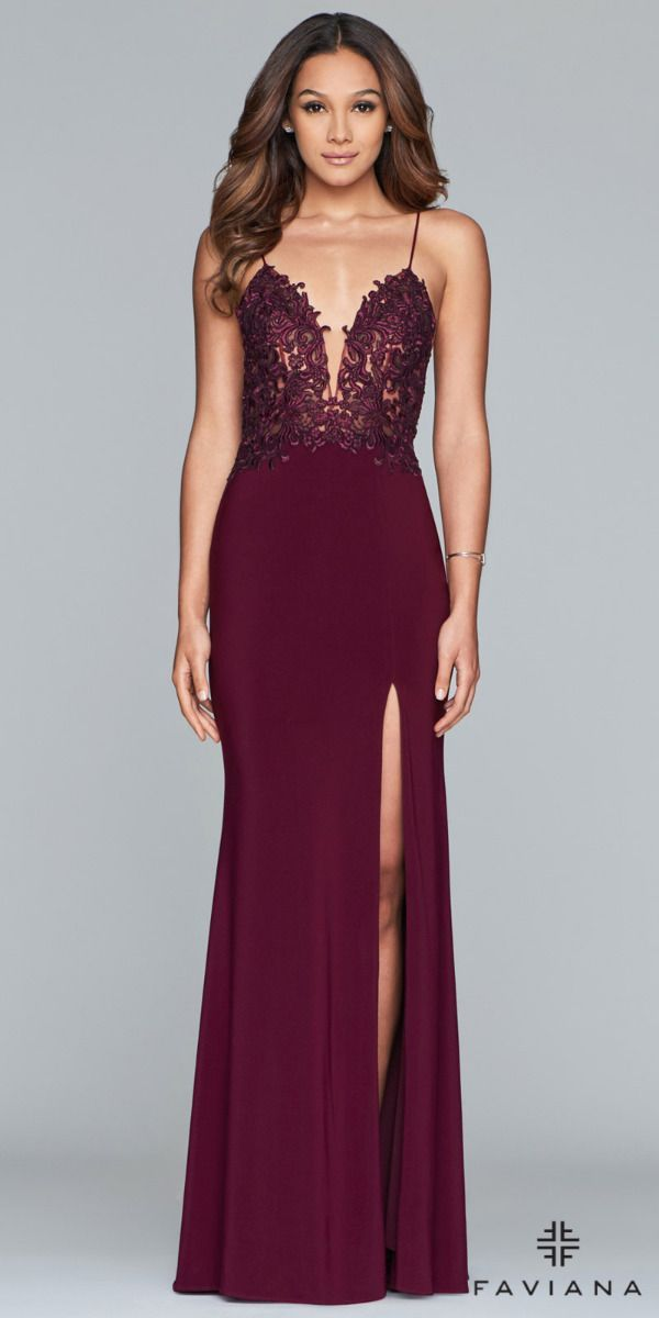 aa48ce552a88 Plunge V-Neck Illusion Cut Out Embroidered Jersey Prom Dress by Faviana