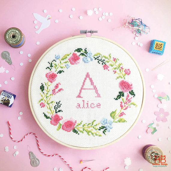 Cross stitch pattern PDF - Floral wreath with Alphabet - Instant download - Art Initial Monogram- Spring Inspiration baby nursery