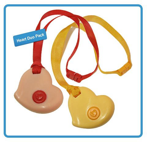 Chewable Heart duo-pack! Save 15% off a set of Pink and Yellow KidCompanions Chewelry hearts with breakaway safety lanyards in 100% cotton.