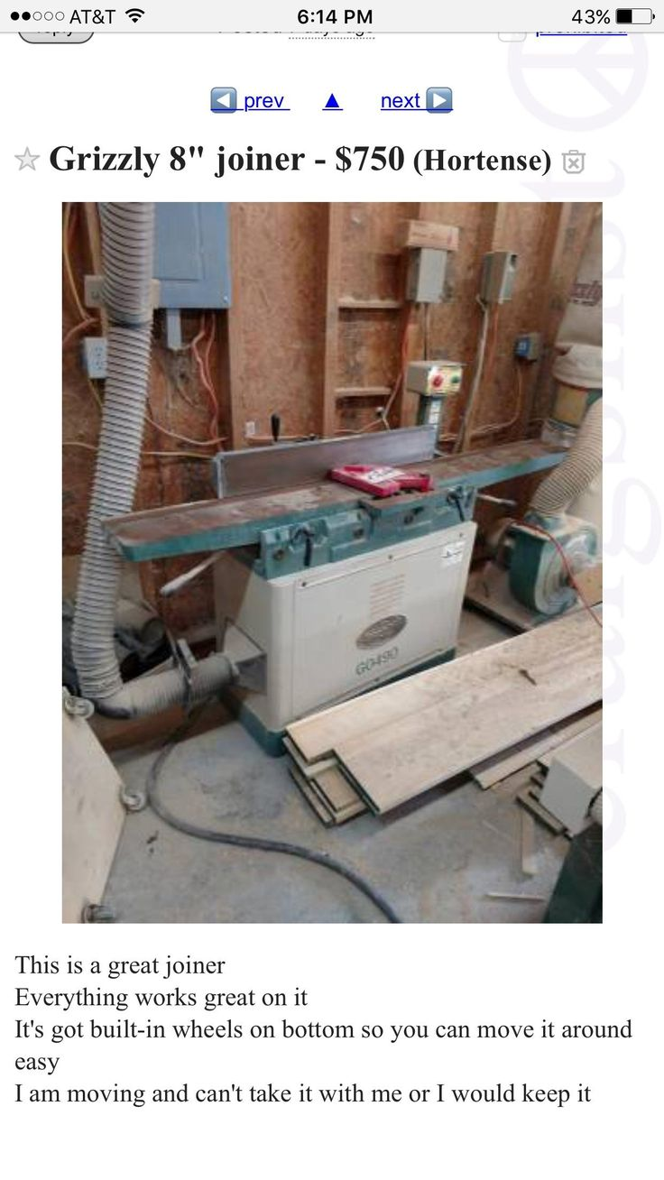 "8"" grizzly jointer for $650? http://ift.tt/2uR09O4"