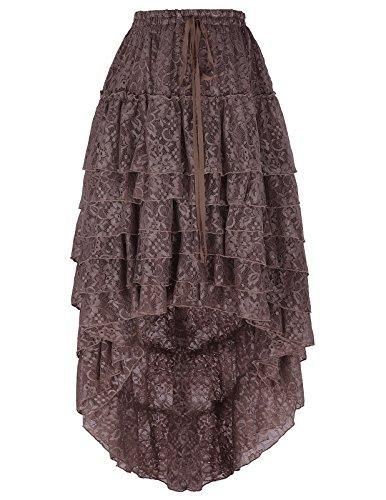 08389e86f6c1 Belle Poque Women s Vintage Ruffled Steampunk Cocktail Party Skirts Black  High-Low Skirt S~L Coffee