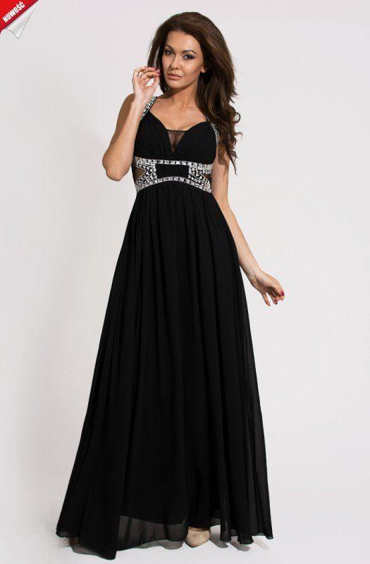 Czarna, elegancka długa suknia na ramiączkach, efektownie ozdobiona kamieniami. #kobieta #suknia #sukienka #długa #czarna #elegancka #zdobiona