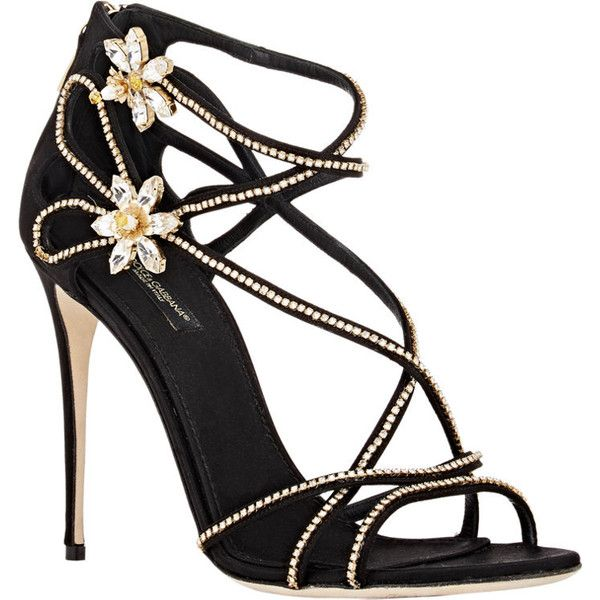Dolce & Gabbana Women's Embellished Crisscross-Strap Sandals ($759) ❤ liked on Polyvore featuring shoes, sandals, leather sole shoes, criss cross strap sandals, embellished sandals, jeweled shoes and open toe high heel shoes