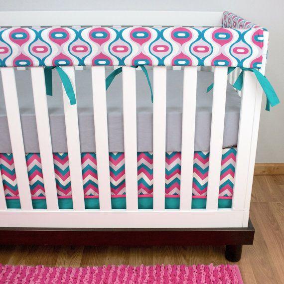 pink turquoise crib bedding baby girl baby bedding rail guard bumperless crib set pink turquoise gray chevron