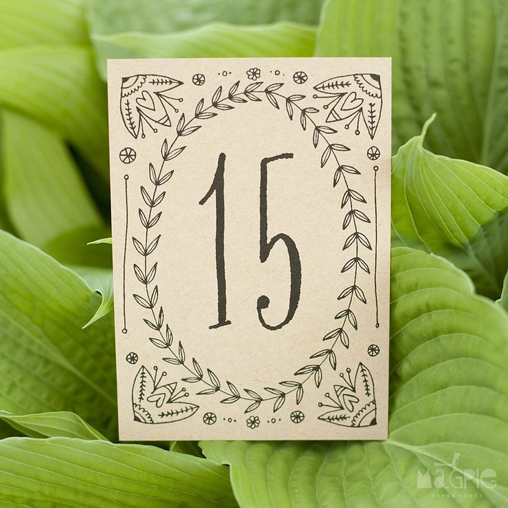 Leaf and vine table numbers