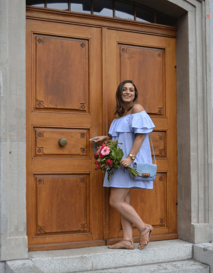 Pastel blue summer dress and flowers #fashion #style #stylish #streetstyle #summerdress #dress #offshoulder #zara #ZacPosenFashion #summerstyle #outfitideas