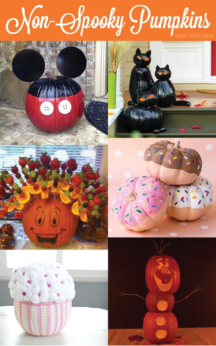 Non Spooky Pumpkins - Ideas for unique pumpkins - Olaf and Mickey included. Omg the pumpkin donuts are adorable!!