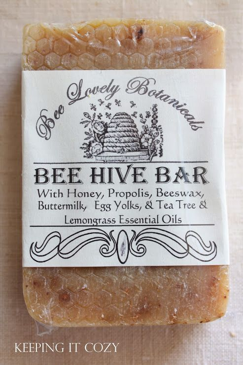 """Bee Lovely Botanicals - """"Bee Hive Bar"""" - They use their own honey, beeswax, & propolis, adding buttermilk, egg yolks from their own chickens, oatmeal, lanolin, tussah silk fibers, & tea tree & lemongrass essential oils. The honey brings B vit to the bar, beeswax adds hardness, propolis is antibacterial & antifungal, buttermilk & eggs make the bar soothing & bring vitamins A, D, & E, oatmeal gives just a hint of exfoliation & soothes skin, & tea tree & lemongrass oils are antiseptic…"""