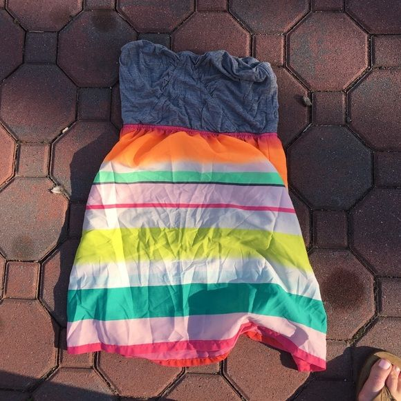 Roxy multicolored cover up Grey bandeau top and multicolor striped bottom. Flowy on bottom tighter on top Roxy Dresses Strapless