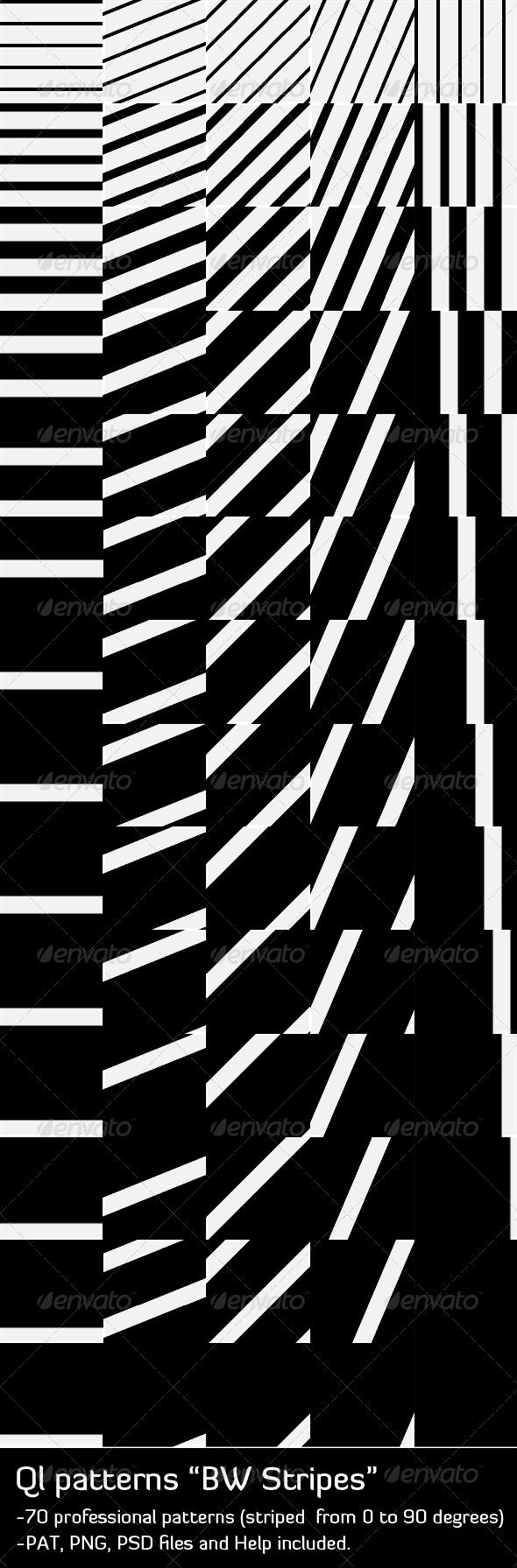 QL Patterns - BW Stripes  #GraphicRiver         -70 professional patterns (striped from 0 to 90 degrees) -PAT, PNG , PSD files and Help included.     Created: 22January11 GraphicsFilesIncluded: PhotoshopPSD #TransparentPNG #JPGImage Layered: No MinimumAdobeCSVersion: CS PixelDimensions: 170x170 Tags: background #blackandwhite #bw #clean #lines #mono #pattern #ql #striped #stripes #web