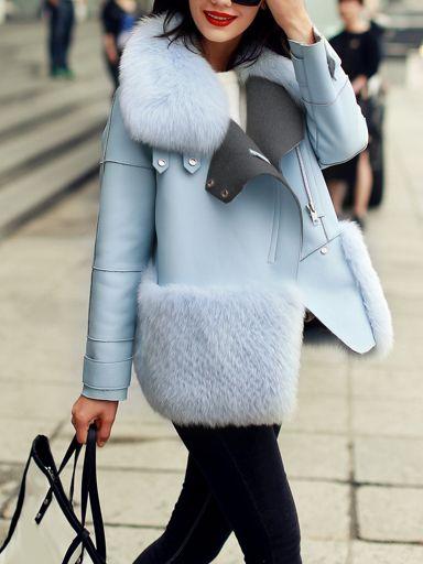 Blue Long Sleeve Faux Fur Coat -SheIn(abaday)