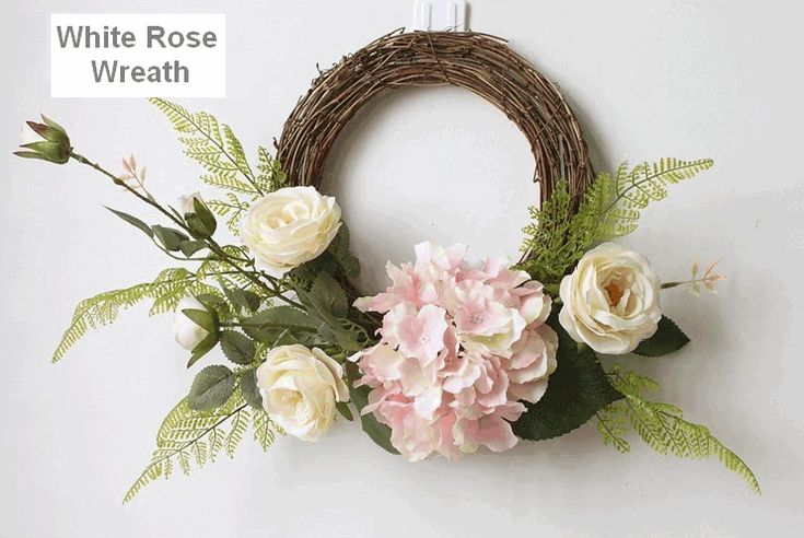 White and Pink Rose Flower Wreath, Artificial Silk Flower Wreath for Home Decoration