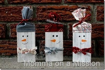 Snowmen from old wooden blocks or 2x4 scraps.