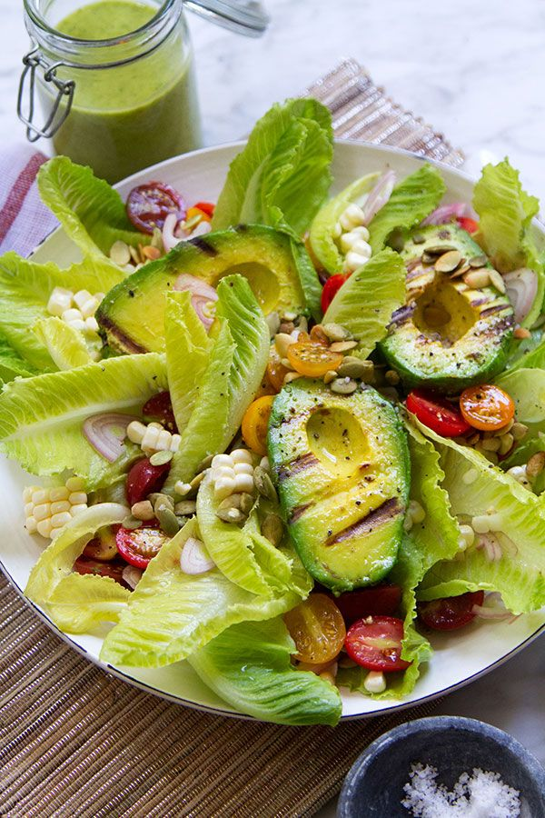 Grilled avocado salad with homemade Green Goddess dressing.