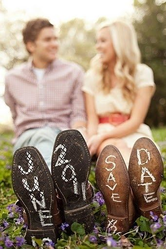 Wedding Ideas, save the date with boots or shoes!!  Create matching favors at http://www.dasweetzpot.com/