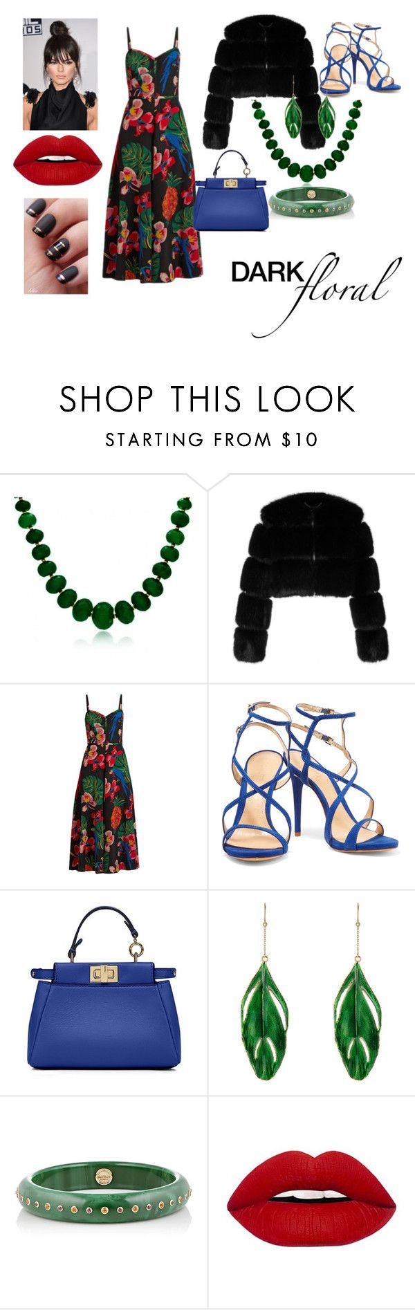 """Dark Floral Contest"" by lolouise on Polyvore featuring Bling Jewelry, Givenchy, Valentino, Schutz, Fendi, Aurélie Bidermann and Mark Davis"