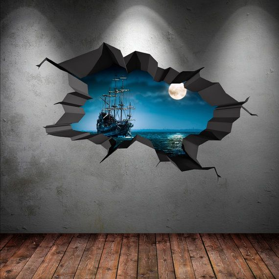 Wall Decals Pirate Ship Ocean Moon Sea Cracked 3d Wall Sticker Stars Mural Decal Graphic Wall Art Boys Bedroom Wall Stickers WSD97