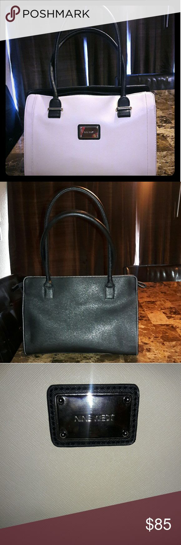 Nine West purse Nine West big purse  Color is creamy  No REFUNDS  Has been used but still in good condition and shape  Has three zippers  Has two pockets Nine West Bags Shoulder Bags