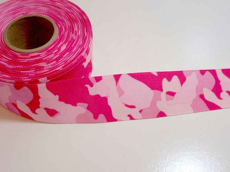Camouflage Ribbon, Pink Camouflage Grosgrain Ribbon 1 1/2 inches wide x 10 yards, Offray Ribbon by GriffithGardens on Etsy