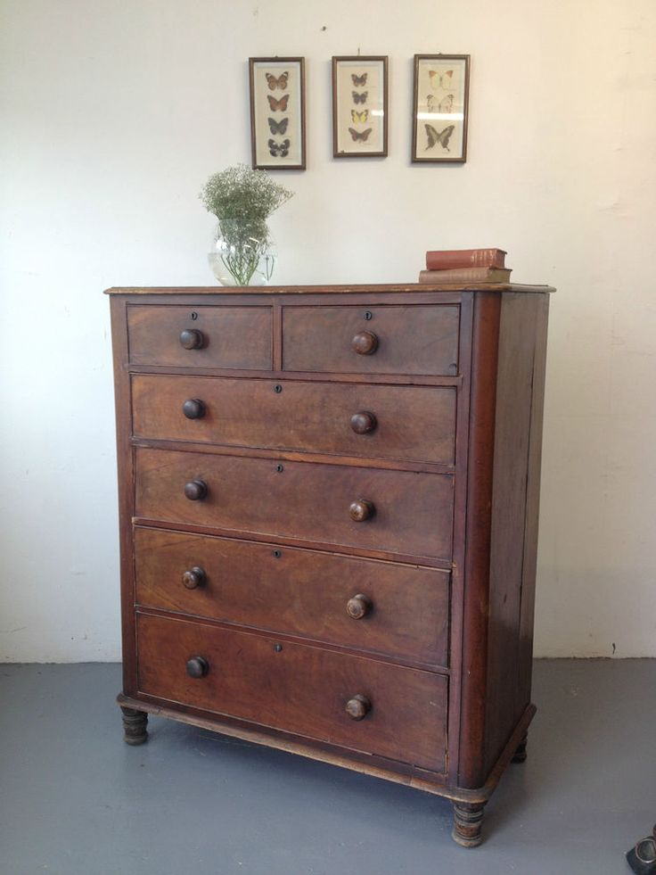 Lovely Large Victorian Antique Mahogany Chest Of Drawers Tall Boy