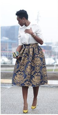 Modest metallic printed midi knee length skirt | Shop Mode-sty