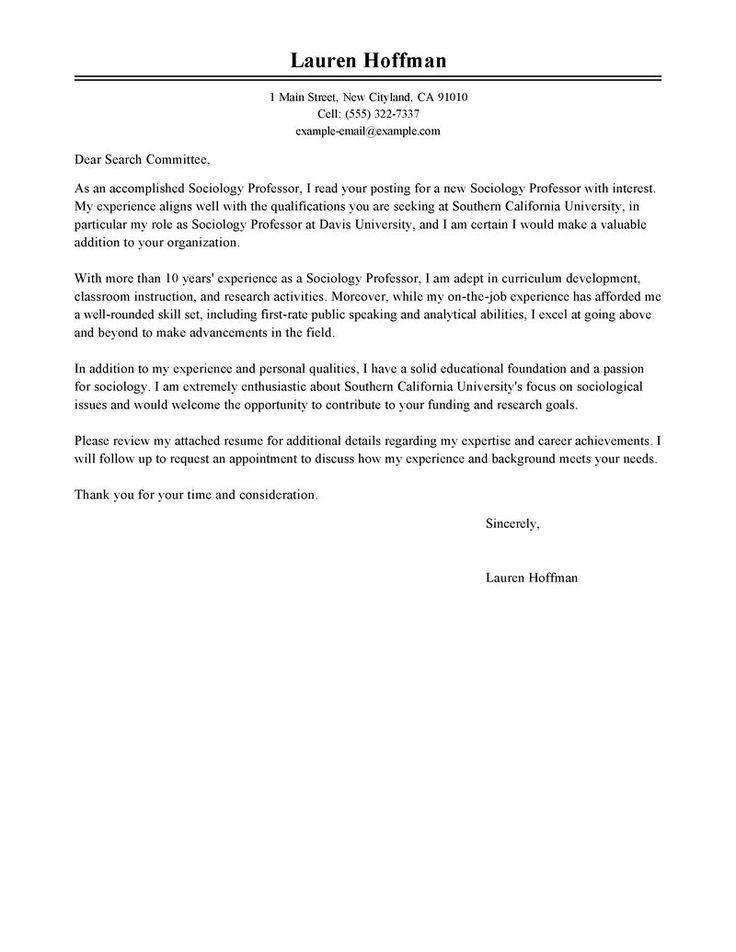 Best professor cover letter examples cover letter for
