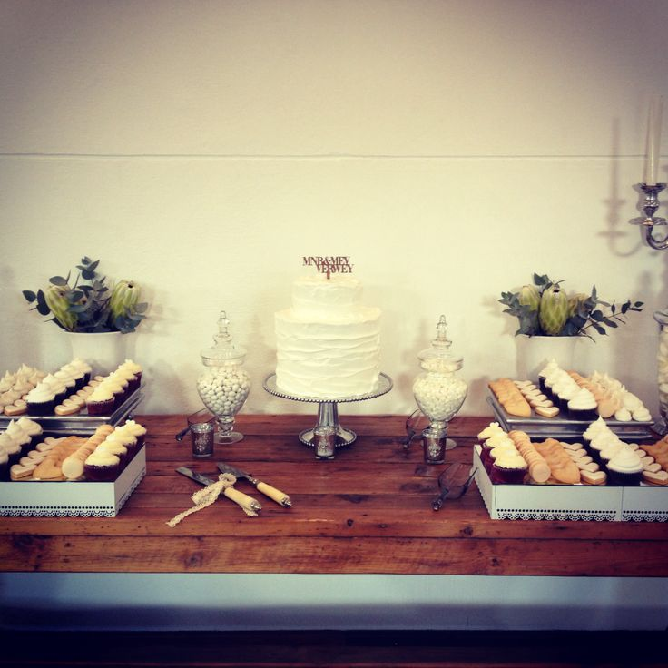 Wedding cake and sweet table by The Birdcage, Stellenbosch
