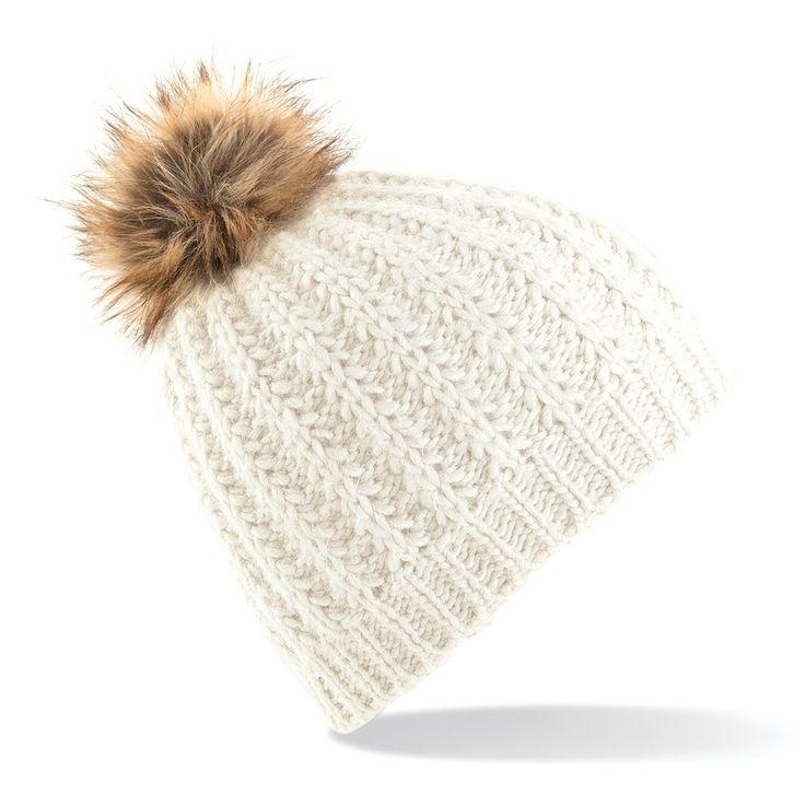 Beechfield - Bonnet tricoté à pompon en fausse-fourrure - Femme (Taille unique) (Blanc cassé): Amazon.fr: Vêtements et accessoires