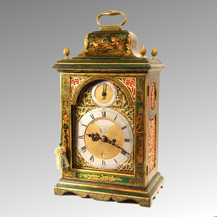 English Verge bracket clock for sale. In a green lacquered, japanned, chinoiserie case, by James Smith of London. Circa 1780.  A fine and original example of a King George III lacquered bracket clock. The eight day duration, five pillar, double fusee movement with Verge escapement (now Anchor Recoil) and rack striking the hours and halfs on a bell. Also having a pull repeat-at-will for night time and the backplate being fully and well engraved with a Chinese Pagoda design