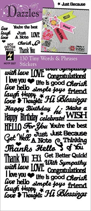 Dazzles Tiny Words and Phrases Stickers - black