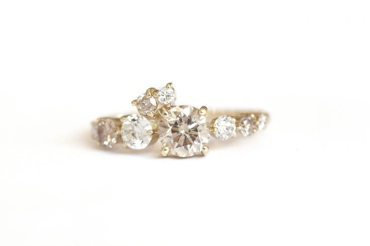 CHAMPAGNE DIAMOND ARC CLUSTER RING Image