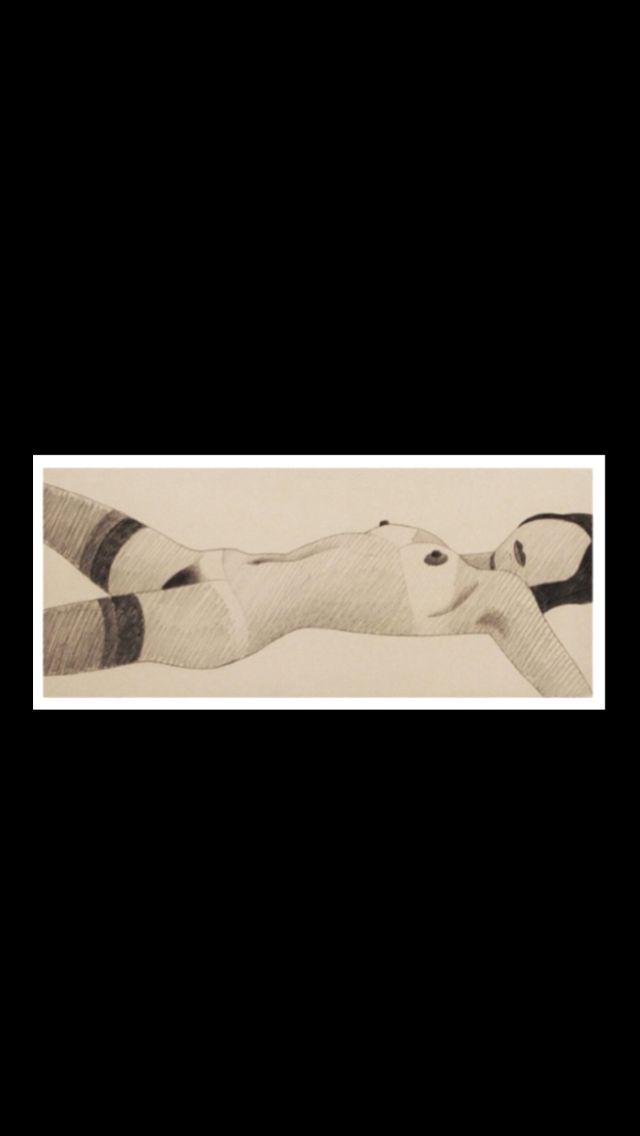 "Tom Wesselmann - ""Stocking Nude"", 1980  - Pencil on paper - 20,3 x 47,8 cm"