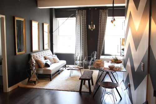 Clever use of space and patterns so cute. gray and gold.
