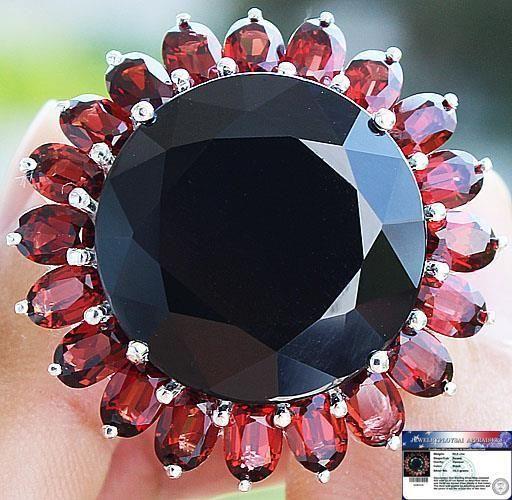 50.0cts BLACK SPINEL (similar to black diamond) & GARNET RING 925SS S#7.5 NR #Handmade #Cocktail