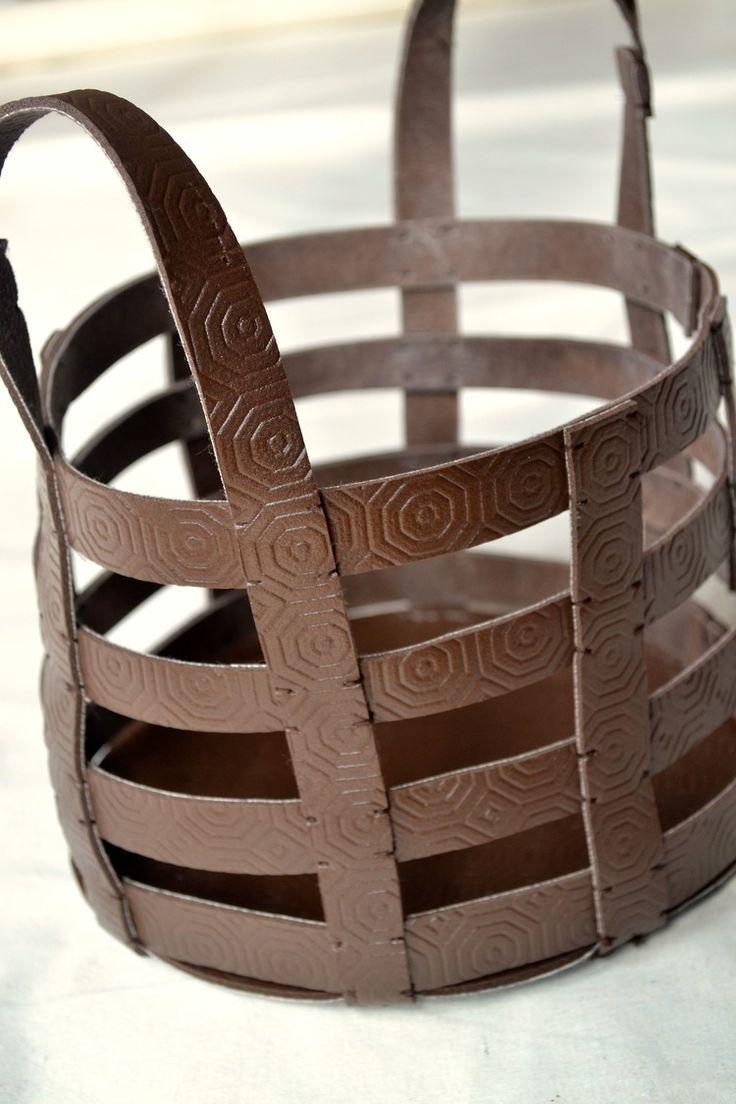 Leather scraps for crafts - Diy Leather Basket