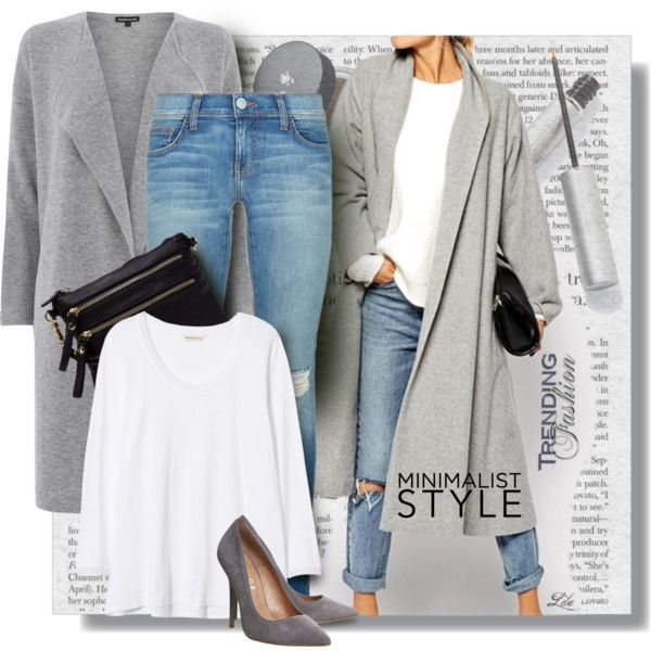 Grey third piece, white T-shirt, light denim and grey pumps