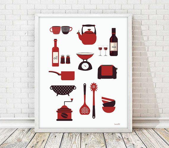kitchen print, modern kitchen art, kitchenware print, mod kitchen, modern art print, kitchen utensils, breakfast print, Retro Kitchen art