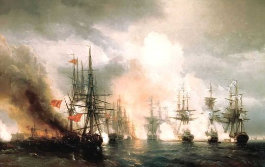 Russian - Turkish Sea Battle of Sinop on 18th of Nov. 1853, 1853 by Ivan Konstantinovich Aivazovsky (Russian, 1817–1900)